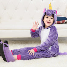 Load image into Gallery viewer, Purple Children One Piece Unicorn Pajamas - Unicorn Roll