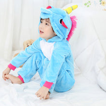 Load image into Gallery viewer, Blue Children One Piece Unicorn Pajamas - Unicorn Roll