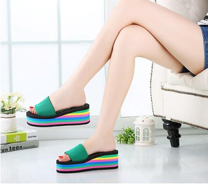 4 Layer Rainbow Wedge Sandal - Unicorn Roll