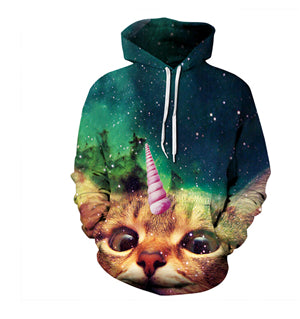 Unicorn Galaxy Cat Hoodie - Unicorn Roll