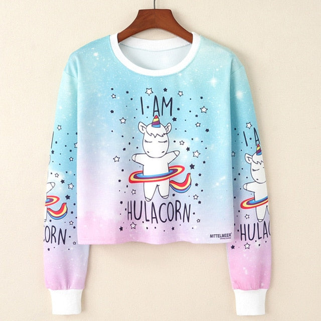 Unicorn Sweatshirt Crop Top - Unicorn Roll