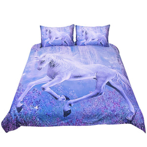 Purple Floral Unicorn 3-Piece Bedding Set - Unicorn Roll