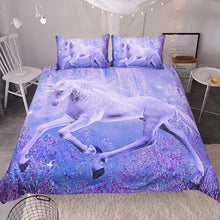 Load image into Gallery viewer, Purple Floral Unicorn 3-Piece Bedding Set - Unicorn Roll