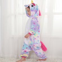 Load image into Gallery viewer, Stars Children One Piece Unicorn Pajamas - Unicorn Roll