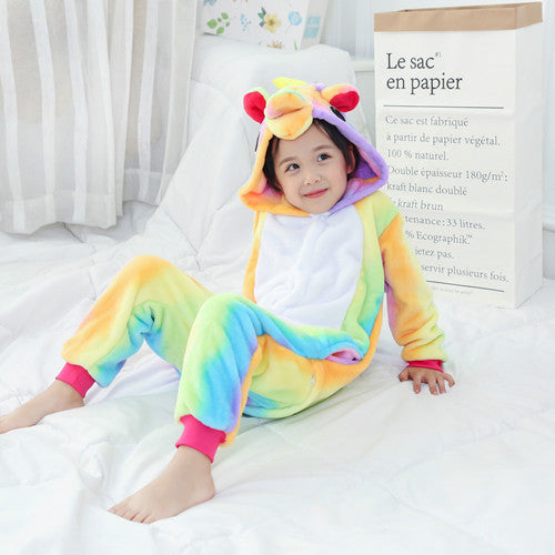Rainbow Children One Piece Unicorn Pajamas - Unicorn Roll