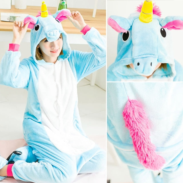 Blue Unicorn Onesie Pajama - Unicorn Roll