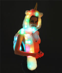 LED Unicorn Hooded Scraf and Gloves Set - Unicorn Roll