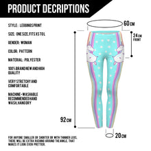 Load image into Gallery viewer, Unicorn and Stars High Waisted Leggings - Unicorn Roll