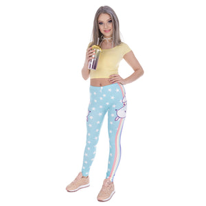 Unicorn and Stars High Waisted Leggings - Unicorn Roll