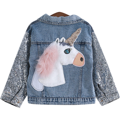 Girls Unicorn Denim Jacket - Unicorn Roll