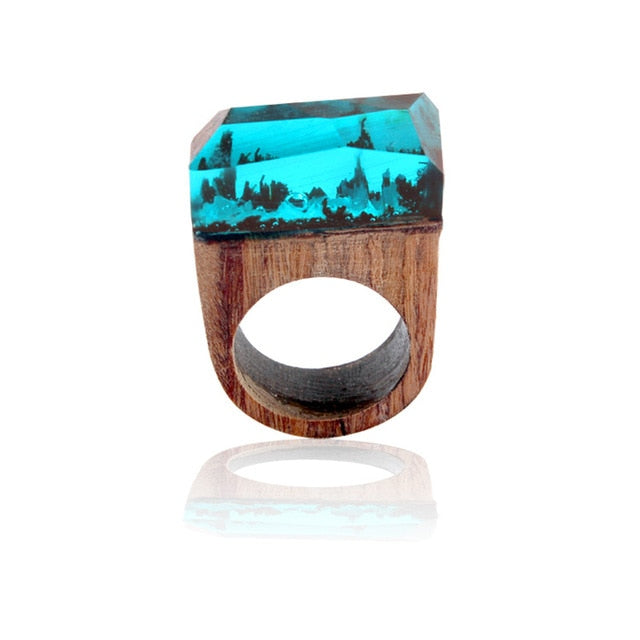 Beautiful Wooden Rings With Mini Landscapes Encapsulated In Resin