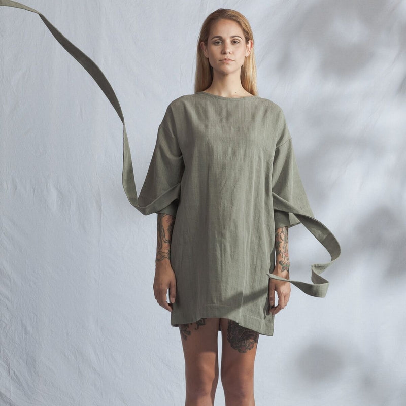 ReCreate Array Handwoven Dress in Mossy Grey, part of the label's new Spring Summer collection