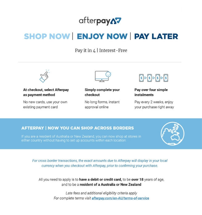 Afterpay shop now, enjoy now, pay later