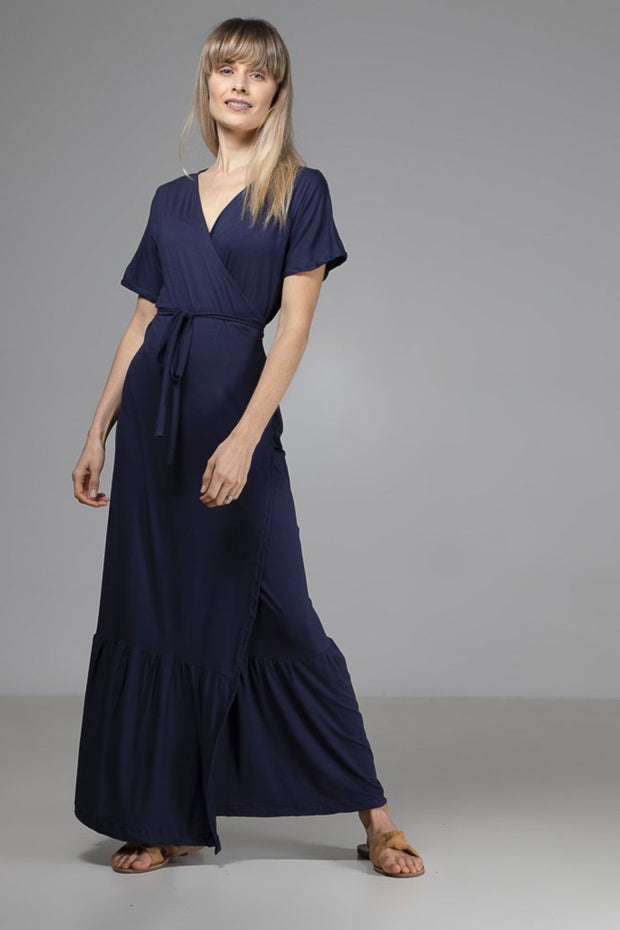Annabelle Wrap Dress | Navy - Indecisive | Ecoture