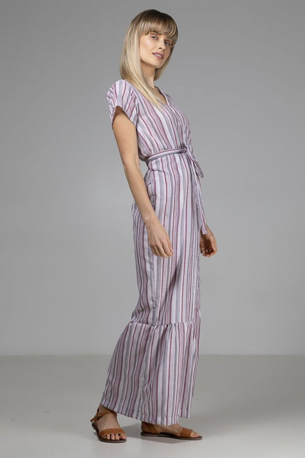 Annabelle Wrap Dress | Red + White Stripe - Indecisive | Ecoture