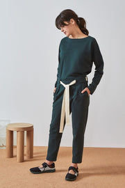 Lounge Tie Pant | Bottle Green - Kowtow | Ecoture
