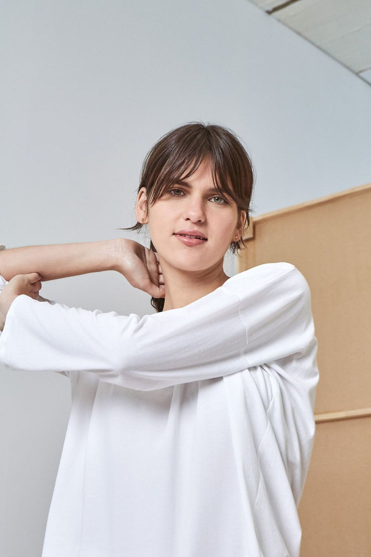 Relaxed Long Sleeve Top | White - Kowtow | Ecoture