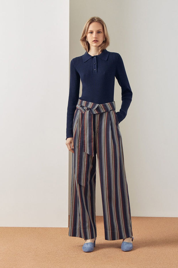Fold Over Pant | Stripe - Kowtow | Ecoture