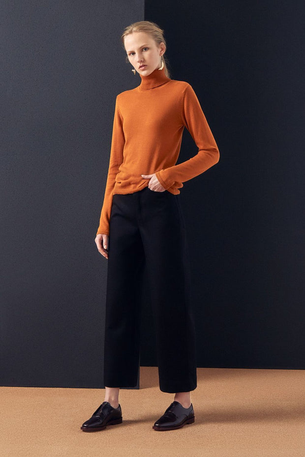 Knit Roll Neck Top | Rust - Kowtow | Ecoture