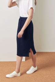 Rib Skirt | Navy - Kowtow | Ecoture
