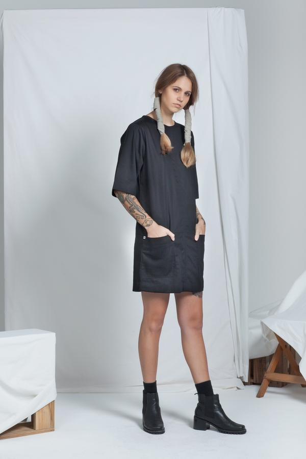 Block Dress | Black Denim - ReCreate | Ecoture