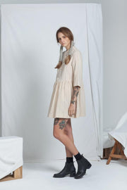 Buttoned Handwoven Dress | Cream - ReCreate | Ecoture