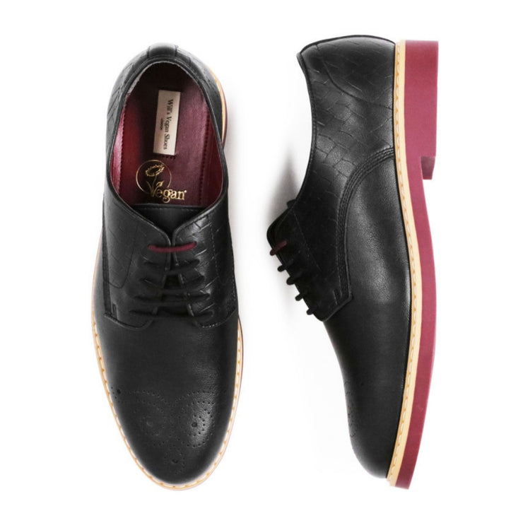 Signature Brogue | Black - Will's Vegan Shoes | Ecoture