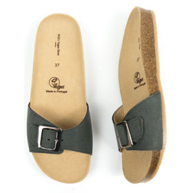 Single-Strap Footbed Sandal | Green 'Suede'