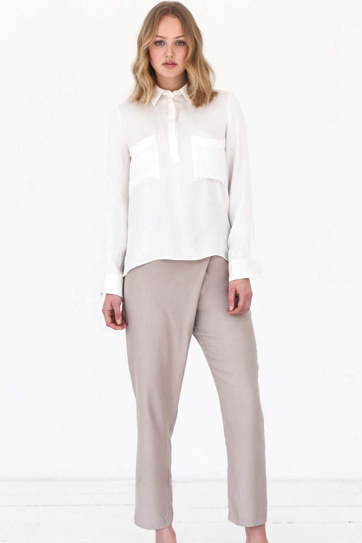 Asymmetric Trousers | Beige - Noumenon | Ecoture