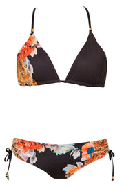 Eloise Reversible Triangle Bikini Top | Black Flowers - NAJA | Ecoture