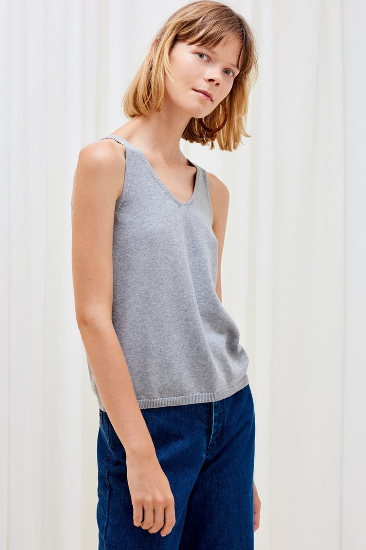Knitted Singlet | Grey Marle - Kowtow | Ecoture