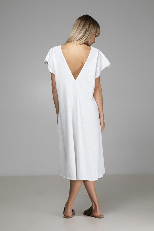 Naomi Dress | White Stripe - Indecisive | Ecoture