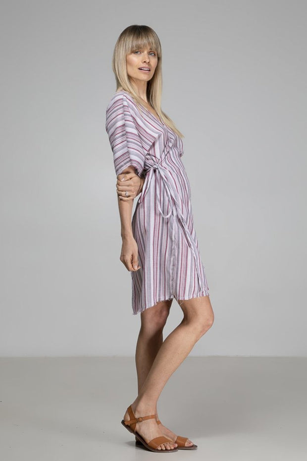Rylee Wrap Dress | Red + White Stripe - Indecisive | Ecoture