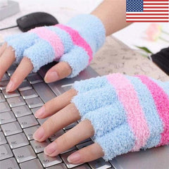 Best USB Electric Heated Gloves Mittens Women Warmest Striped Gloves Winter Fingerless Battery Operated Fleece Gloves
