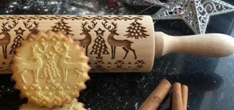Christmas Embossed Rolling Pin For Wooden Reindeer Snowflake Textured Pattern for Fondant Christmas Springerle cookies