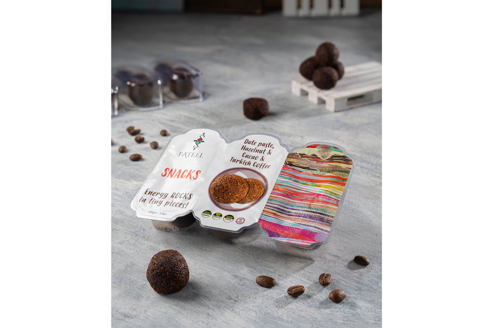 Healthy & Energy Snacks (Grab and Go)  Date Paste, Coffee & Hazelnut -     5 Packs