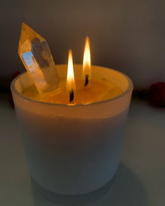 BEESWAX CRYSTAL CANDLE (HEMP WICK)