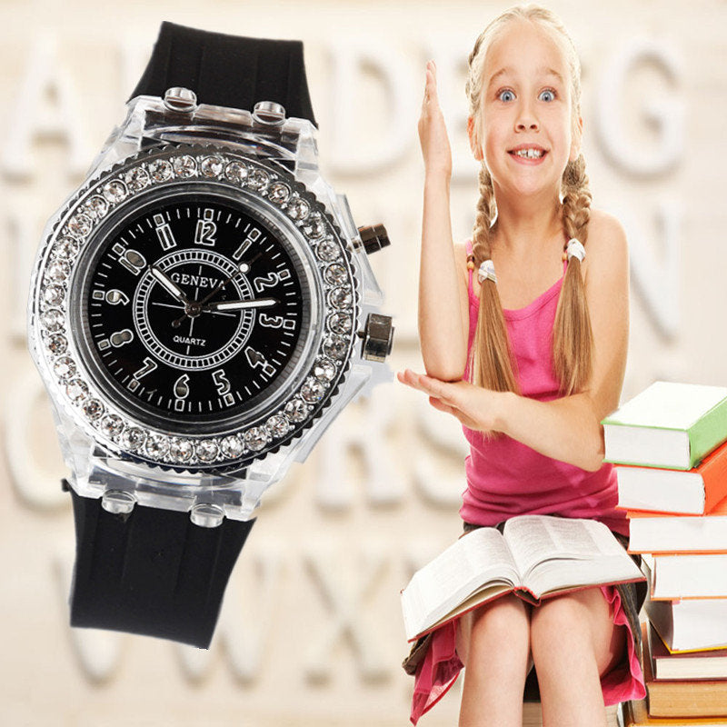 School Boy Girl Watches Electronic Colorful Light Source Birthday