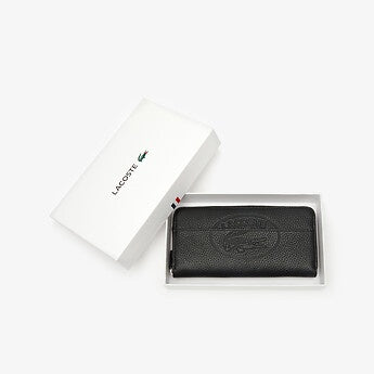 Lacoste Women Croco Crew L Zip Leather Wallet in Black