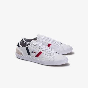 Lacoste Men Sideline TRI1 CMA Shoes in White/Nvy/Red