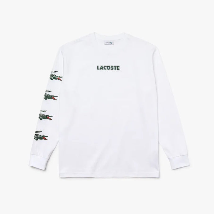 Lacoste Men LS Croc Jersey T-Shirt in White