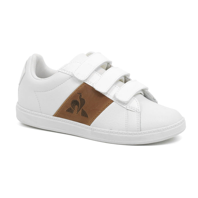 Le Coq Sportif Kids Courtclassic PS Shoes in Optical White/Brown