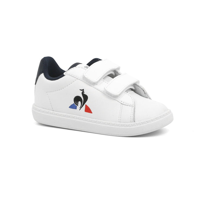 Le Coq Sportif Kids Courtset INF Shoes in Optical White/ Dress Blue