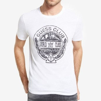 Guess Men Crest Logo Crew in White