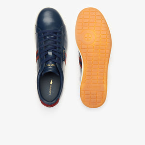 Lacoste Men Carnaby EVO 419 3 SMA Leather Shoes in Navy/Dark Red