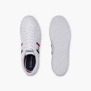 Lacoste Men Lerond Tri1 CMA Leather/Synthetic Shoes in White/Navy/Red