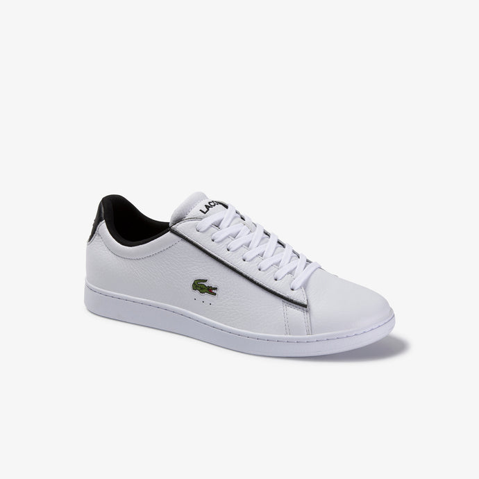 Lacoste Men Carnaby Evo 120 2 SMA Leather/ Synthetic Shoes in White/ Black