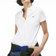 Lacoste Women 5 Buttons Slim Stretch Polo in White