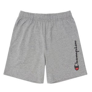 Champion Kids Script Jersey Shorts in Oxford Heather