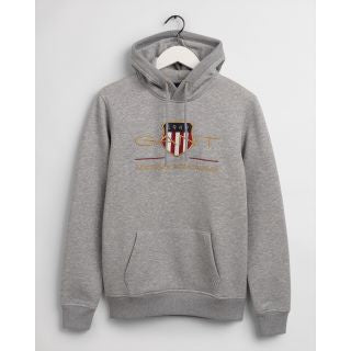 Gant Men Archive Shield Hoodie in Grey Melange